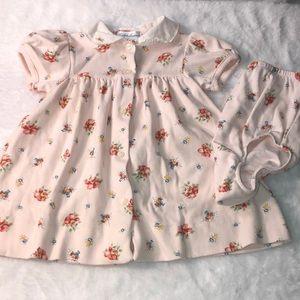 Ralph Lauren Pink Flower Dress w/ Diaper Cover 9m